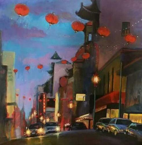 """Chinatown at Night"" original fine art by Wendy Brayton"