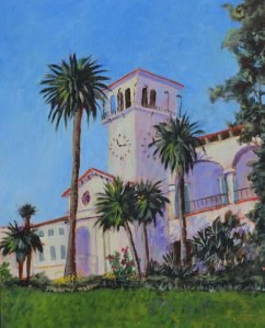 """Santa Barbara Courthouse"" original fine art by Robert Frankis"