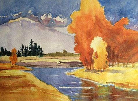 """Mountains & Rivers"" original fine art by Peter Wellington"
