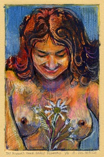 """Collograph: Thy Fingers Make Early Flowers"" original fine art by Belinda Del Pesco"