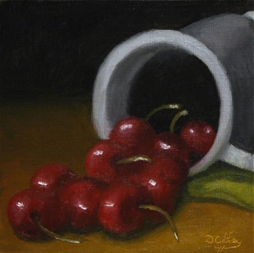 """Kitchen Painting – Cherries and Pewter 001"" original fine art by Dave Casey"
