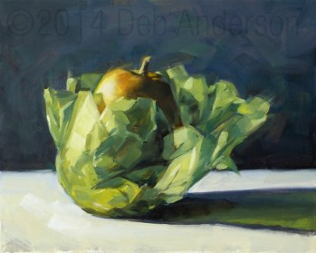"""Oil Painting: Wrapped Pear"" original fine art by Deb Anderson"