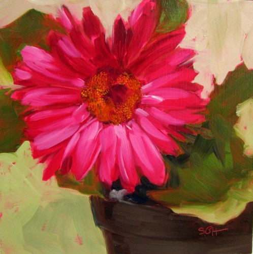 """Single Gerbera"" original fine art by Sandy Haynes"