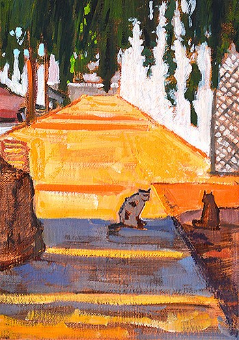 """Cats Outside the Egg Wholesale Place"" original fine art by Kevin Inman"