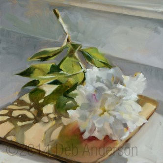 """Oil Painting: White Peony"" original fine art by Deb Anderson"