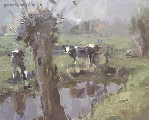 """Landscape autumn #9 Willow and Young cows are still out there"" original fine art by Roos Schuring"