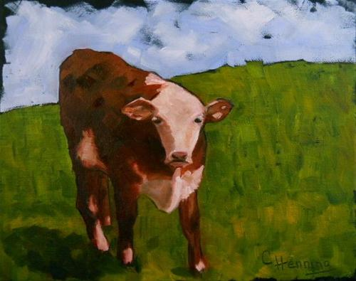 """Moo, Moo Little Cow"" original fine art by Claire Henning"