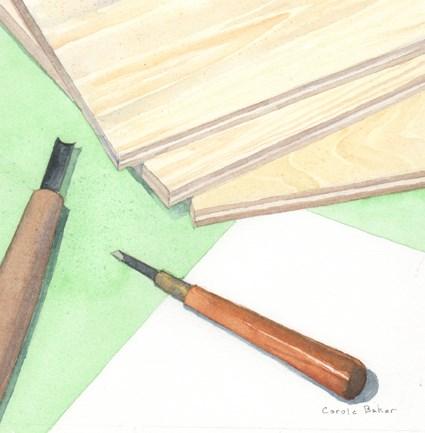 """Hanga Tools"" original fine art by Carole Baker"