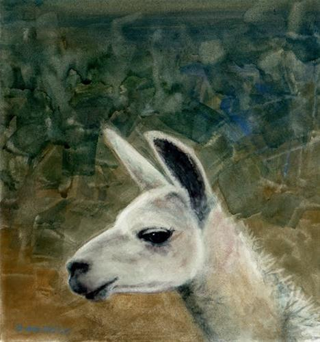 """Watercolor: Llama Love (& pics from the San Diego Artwalk)"" original fine art by Belinda Del Pesco"