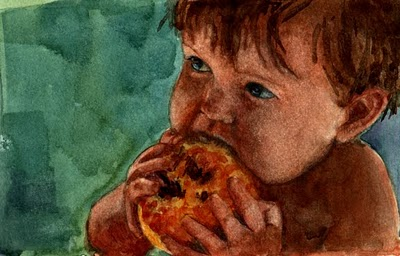 """Watercolor: Baby's First Peach (& a painting by Vicky Knowles)"" original fine art by Belinda Del Pesco"