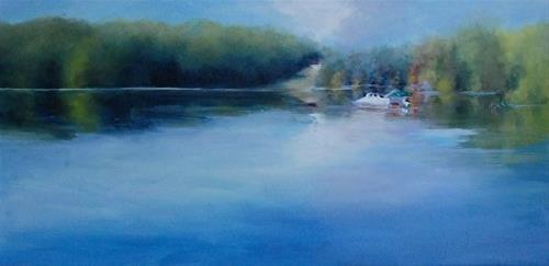 """Heading Home, Lake Logan, 12 x 24 Oil, Landscape"" original fine art by Donna Pierce-Clark"