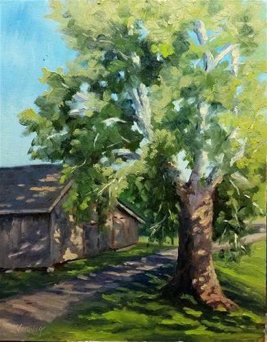 """Sycamore Shadows-en plein air"" original fine art by Veronica Brown"