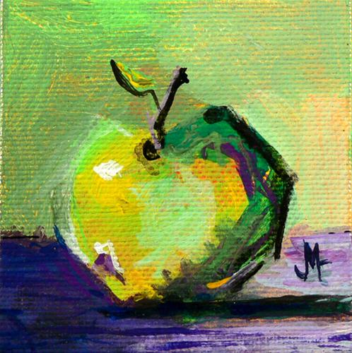 """Little Green Apple"" original fine art by - JanettMarie"