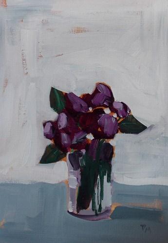 """Purple on White"" original fine art by Pamela Munger"