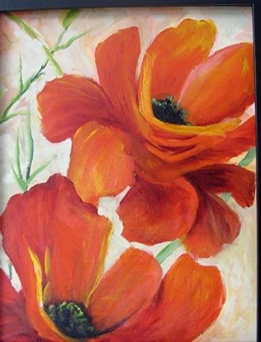 """Red Poppies Framed in Black"" original fine art by Barbara Haviland"