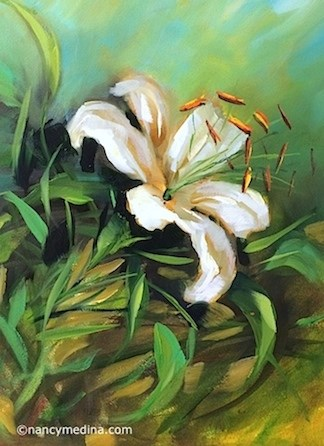 """Sun Spark Lily Solo - Flower Paintings by Nancy Medina"" original fine art by Nancy Medina"