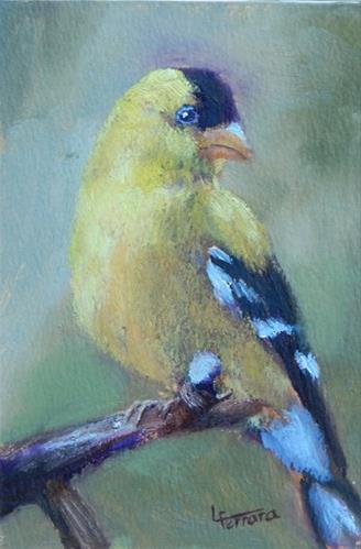 """Goldfinch 2"" original fine art by Lina Ferrara"