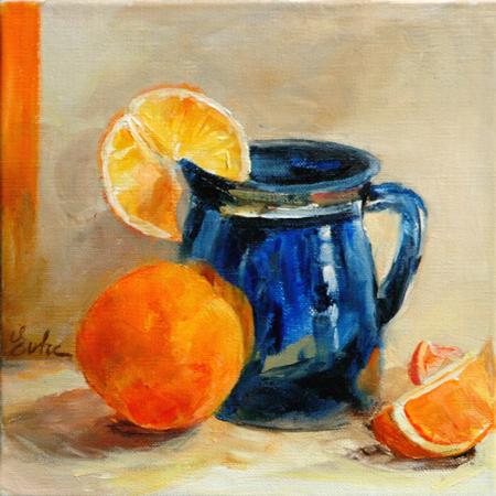 """Les oranges"" original fine art by Evelyne Heimburger Evhe"