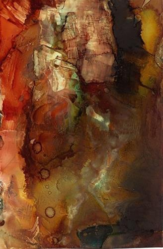 """""""Original Contemporary Abstract Mixed Media, Alcohol Ink Painting The Crucible by Contemporary New"""" original fine art by Lou Jordan"""