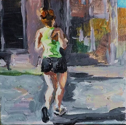 """A woman jogging"" original fine art by Run-      Zhang Zane"