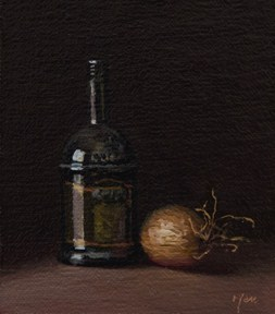 """Still Life with Olive Oil and Onion  (+ GIVING)"" original fine art by Abbey Ryan"