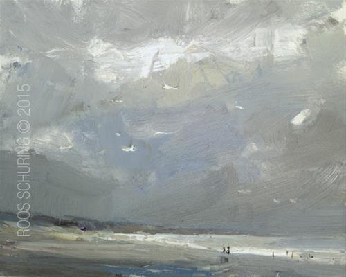 """Seascape Pleinair ""Grey Power"""" original fine art by Roos Schuring"