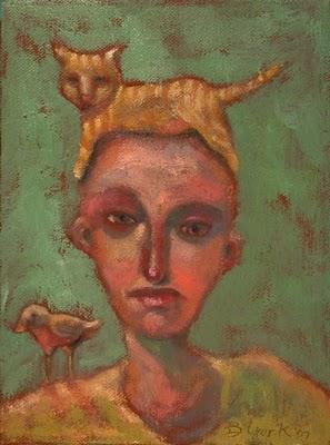 """Cat Bird"" original fine art by Brenda York"