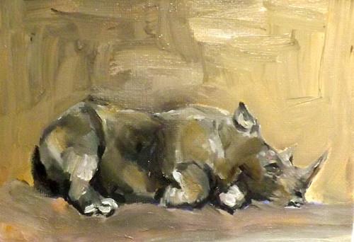 """Rhinoceros,m1"" original fine art by Run-      Zhang Zane"