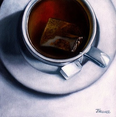 """White Porcelain & Hot Tea"" original fine art by Jelaine Faunce"