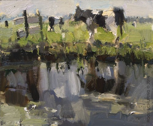 """Painting ""First Cows"""" original fine art by Roos Schuring"
