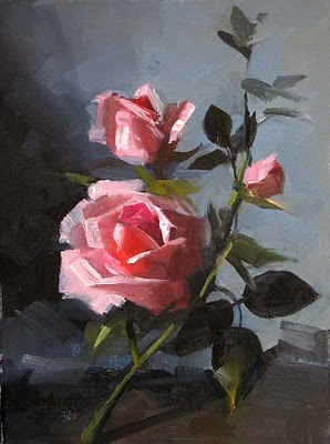 """Morning Roses"" original fine art by Qiang Huang"