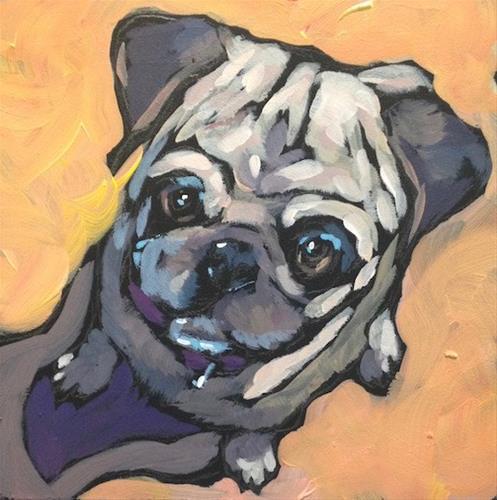 """Perky Pup"" original fine art by Kat Corrigan"