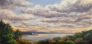 """Hudson River from Kingston"" original fine art by Jamie Williams Grossman"