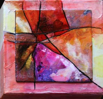"""Little Red Abstract"" original fine art by Kara Butler English"