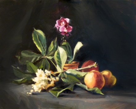 """Oil Painting: Horsechestnut, Orchid, and Peaches"" original fine art by Deb Anderson"