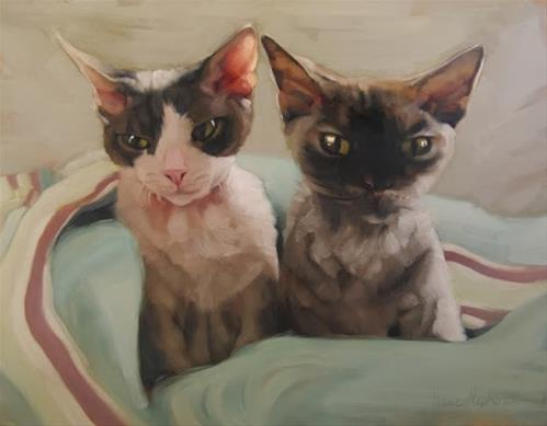 """Yoda and Ripley cat painting commission"" original fine art by Diane Hoeptner"