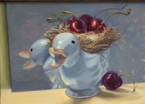 """Blue duck with cherries"" original fine art by Jean Wilkey"