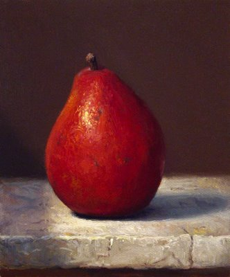 """Red Pear on Marble"" original fine art by Abbey Ryan"