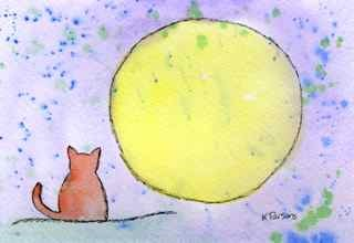 """A Cat and a Moon"" original fine art by Kali Parsons"