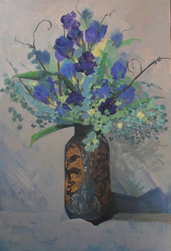 """Rustic Vase Original Still Life Iris Floral Painting by Colorado Artist Susan Fowler"" original fine art by Susan Fowler"