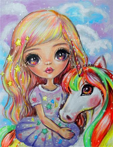 """""""Unicorn Sunshine"""" original fine art by Nicole Chen"""