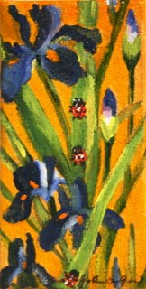 """Lady Bugs and Iris"" original fine art by JoAnne Perez Robinson"