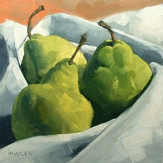 """Cozy Pears"" original fine art by Michael Naples"