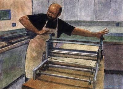 """""""Watercolor: Printmaker Adjusting the Press"""" original fine art by Belinda Del Pesco"""
