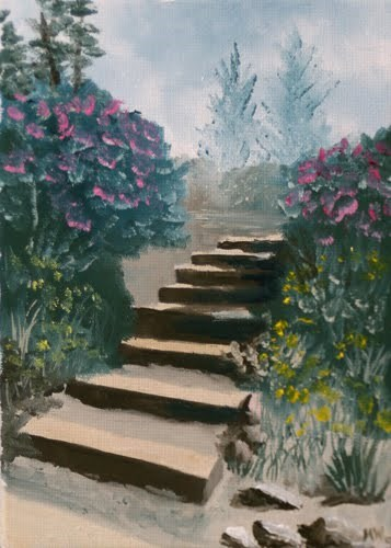 """Mark Webster - Stairs in the Flower Garden Oil Painting"" original fine art by Mark Webster"
