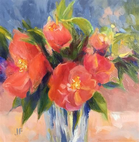 """Pink Camellias"" original fine art by Jean Fitzgerald"
