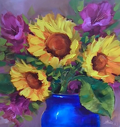 """Tennessee Ladies Sunflower Bouquet"" original fine art by Nancy Medina"