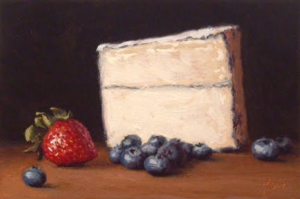 """Strawberry and Blueberries with Humboldt Fog"" original fine art by Abbey Ryan"