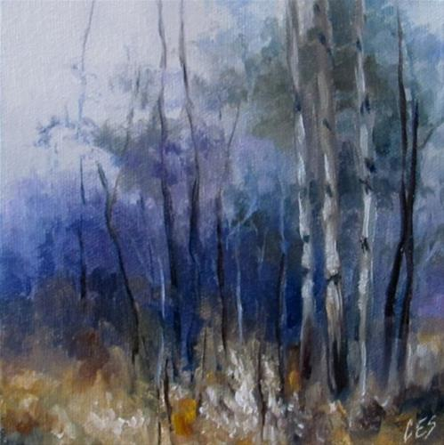 """Purple Dusk Birch"" original fine art by ~ces~ Christine E. S. Code"