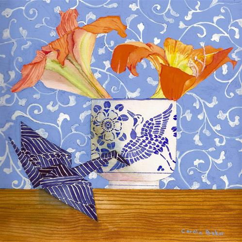 """Lilies and Cranes"" original fine art by Carole Baker"